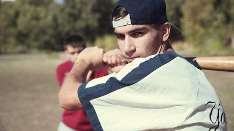 Baseball player waiting for the ball