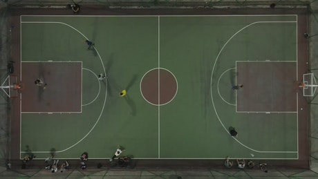 Basketball court with players top view