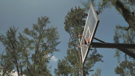 Basketball player hangs on the rim