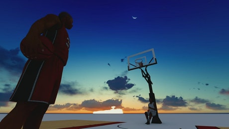 Basketball player on a court during a sunset