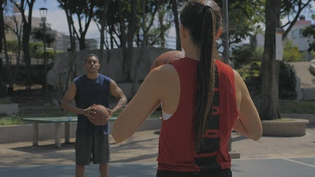 Basketball players warming up