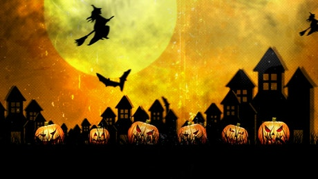 Bats and witches on Halloween, 2D animation