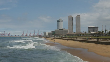 Beach and the city in the background
