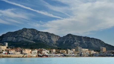 Beach town in France near mountains
