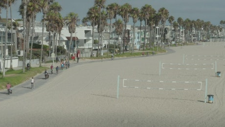 Beach volleyball courts on the sand by the sea