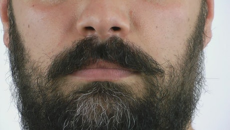 Bearded man's mouth in disapproval gesture