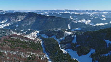 Beautiful aerial landscape of winter forests