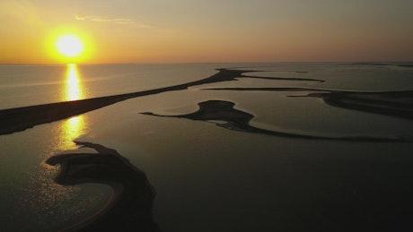 Beautiful aerial shot over islands at sunrise
