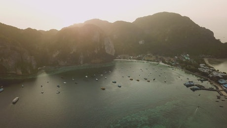 Beautiful bay during a sunset from the air