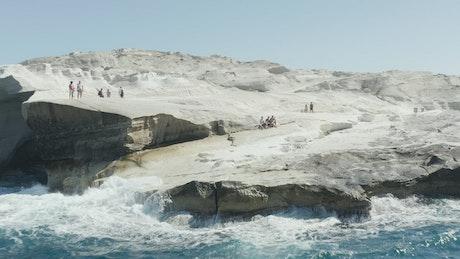 Beautiful blue sea on the rocky coast of Milos
