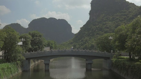 Beautiful bridge over a river in Vietnam