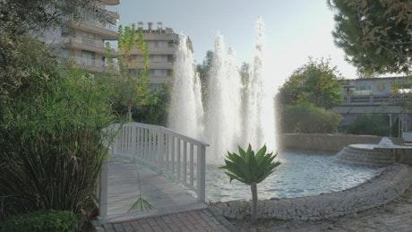 Beautiful fountain in a public garden