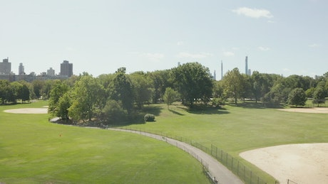 Beautiful gardens in Central Park with skyline view