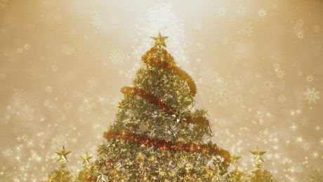 Beautiful giant Christmas tree spinning, 3D render