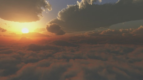 Beautiful journey through clouds during sunset