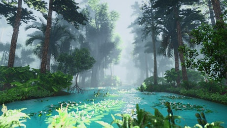 Beautiful lagoon in the jungle, 3D animation