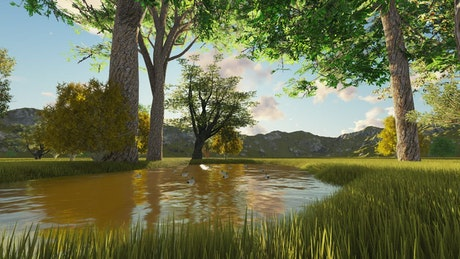 Beautiful lake in a forest in summer, 3D render