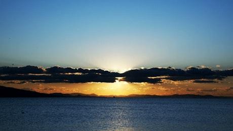 Beautiful landscape of a sunset on the sea skyline
