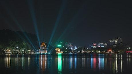 Beautiful lights over Hoan Kiem Lake
