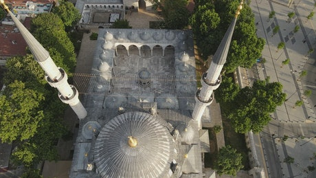 Beautiful mosque in Istanbul, aerial shot