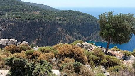 Beautiful mountain landscape and the seashore