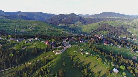 Beautiful mountain village, aerial shot