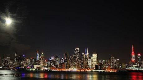 Beautiful night sky over New York