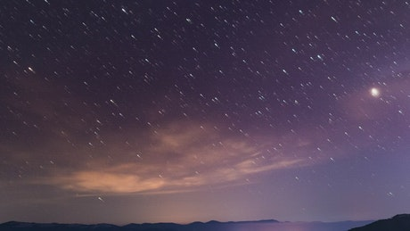 Beautiful night starry sky in the mountains