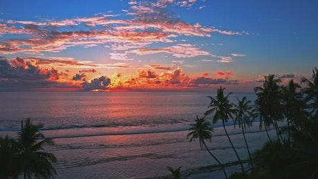 Beautiful orange sunset on the beach