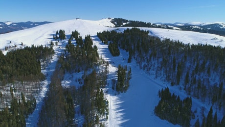 Beautiful snowy landscape at a ski resort