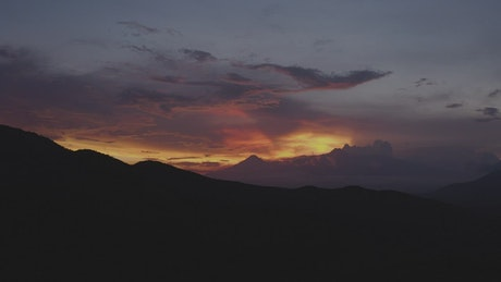 Beautiful sunset over mountains