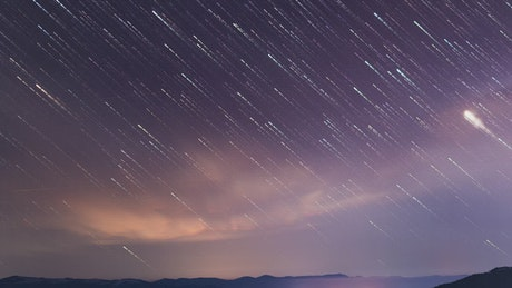Beautiful time-lapse of a starry sky in the mountains