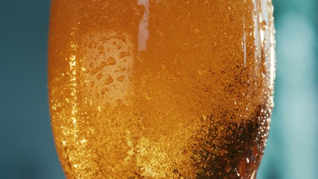 Beer and bubbles in the glass