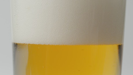 Beer settling in a glass