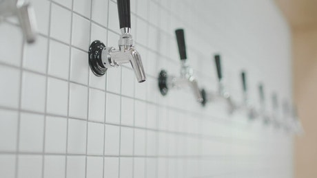Beer taps on a wall