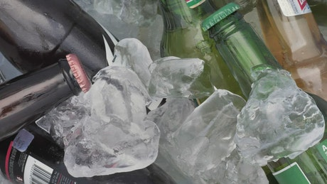 Beers inside a large ice chest