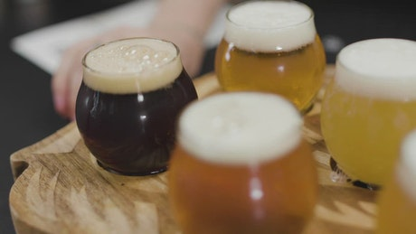 Beers on a wooden board