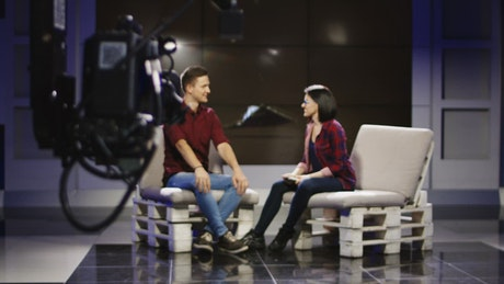 Behind the camera of a talkshow