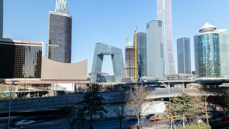 Beijing business district skyline time lapse
