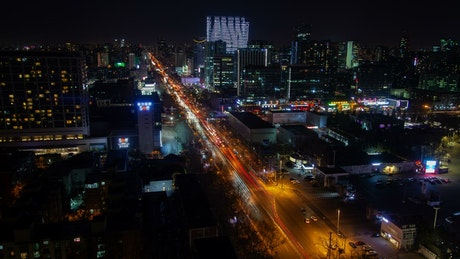 Beijing cityscape and traffic on the streets