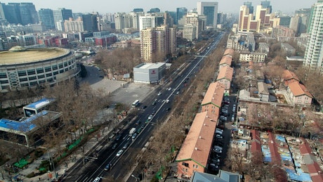 Beijing cityscape with traffic at daytime