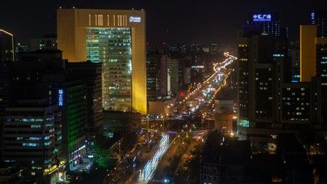 Beijing cityscape with traffic on the street