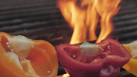 Bell peppers on the BBQ grill