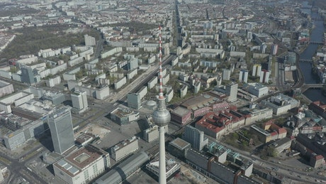 Berlin city viewed from behind a large antenna