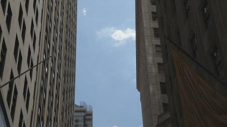 Between buildings on Wall Street