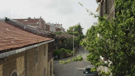 Between town buildings