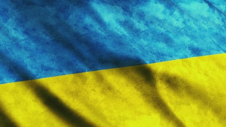 Bicolor flag of Ukraine moving with the wind
