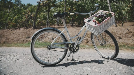 Bicycle with a white basket
