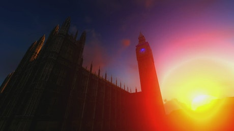 Big Ben in 3D during sunset