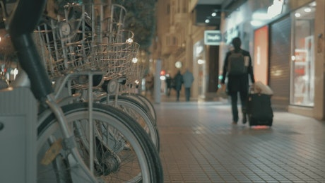 Bikes parked during the night